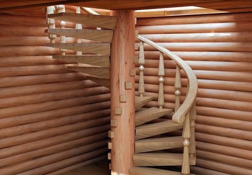 Деревяная винтовая лестница